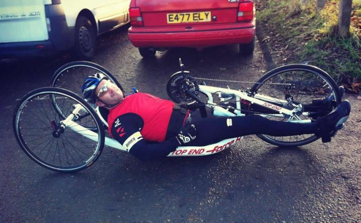 The cyclist says a competitor of this recumbent model can go up to 24 mph in a race. Photo: © Salina Christmas