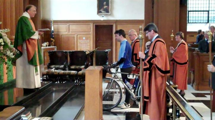 The archdeacon of St Bride's, the Ven. David Meara, established for once and for all that, in processions ecclesiatical, the 'cyclist' when present takes precedence over the crucifer. Photo: © Charles Christie-Webb