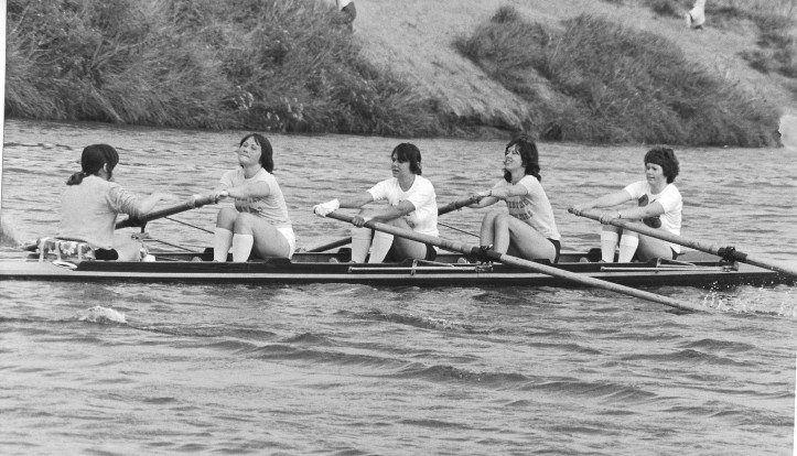 Jenny Rees, third from the right, rowing with a coxed IV for The Boston Marathon in 1978. Photo: © N J D Scarlett