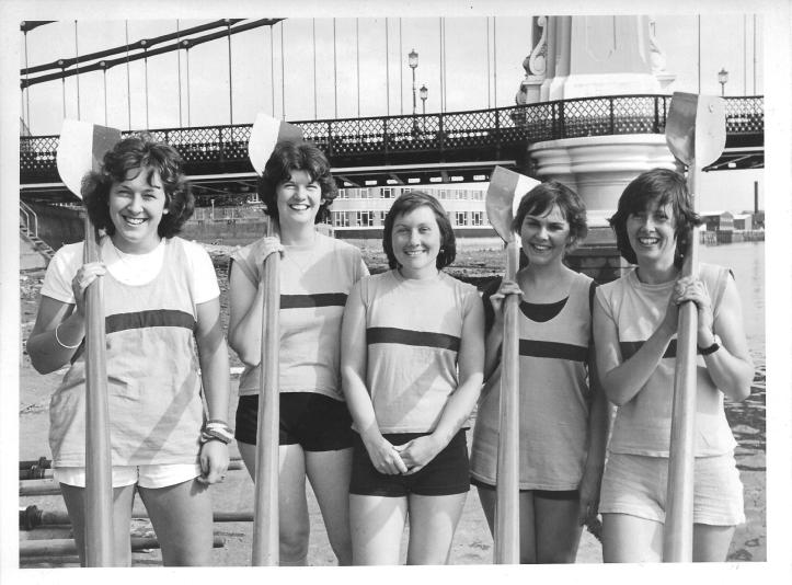 Rees, pictured, far right, with the Coxed IV District Line Rowing Club Ladies, before the Hammersmith Bridge, London, one of the key landmarks for head races, regattas and the University Boat Roace. Photo: © LT News