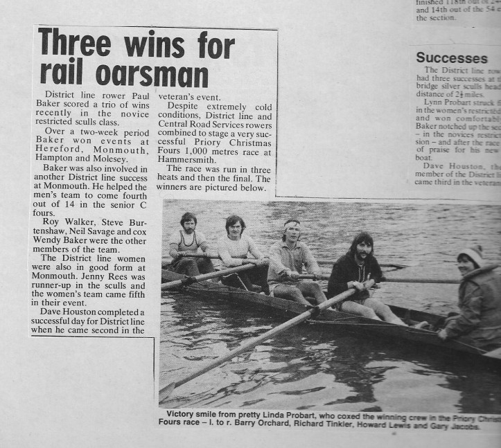 Newspaper clipping of Richard Tinkler, former GB Rowing coach and oarsman for TfL, at one of London Transport's Christmas regattas. Photo: © LT News