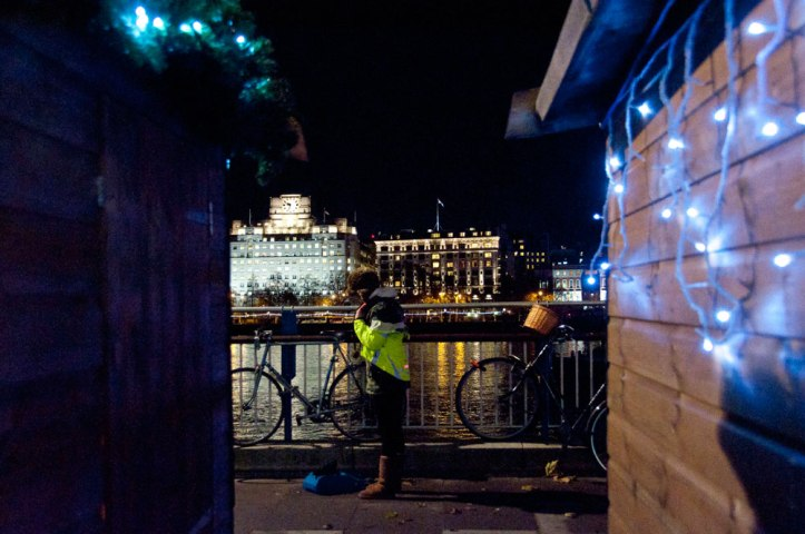 Night cyclist at Southbank Centre. Photo © Zarina Holmes