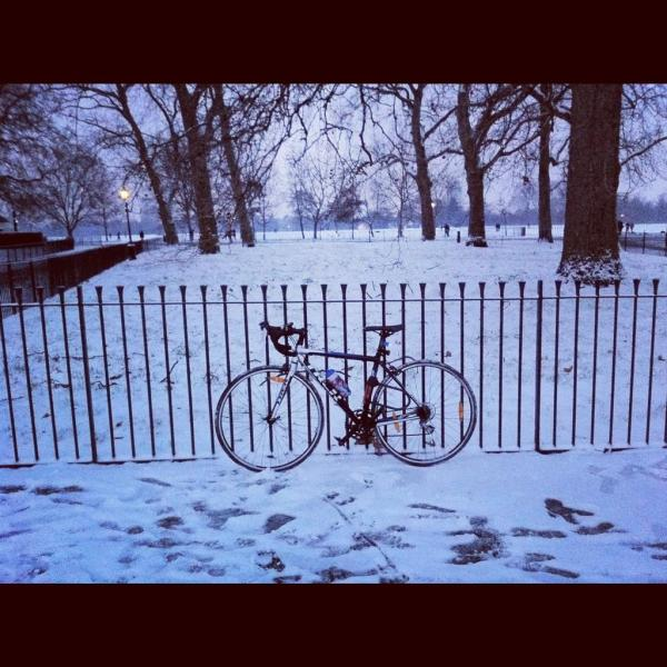 A lousy Instagram of Hey Boo, my bike, at Hyde Park in winter 2013. I sought peace during the commute back from work. Cycling in the cold provided me with enjoyment.