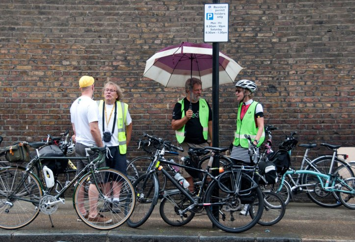 Bikeminded marshals looking after our bikes in the rain. Aw, bless. Photo © Zarina Holmes / GLUE