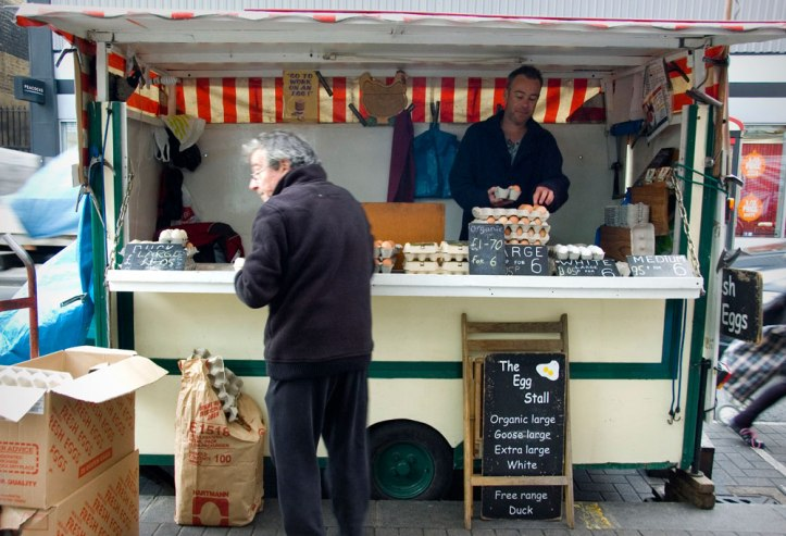 Joe's egg stall at North End Road market in Fulham. An unusual view, unless you venture out to a street market. Photo © GLUE