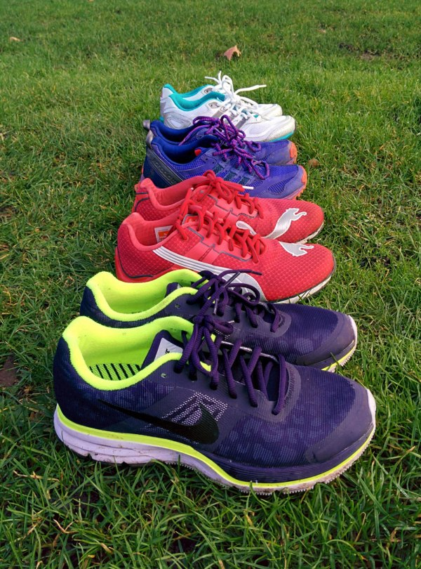 Different shoes for different type of running. From the front: Nike Pegasus 30+, Puma Mobium Elite, Adidas Kanadia 5 and Adidas Supernova Glide.
