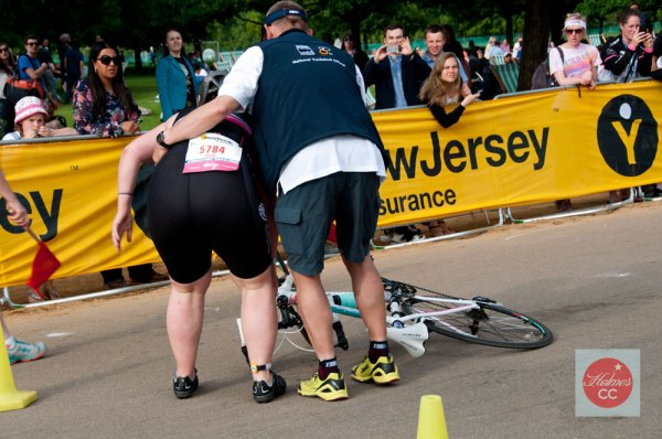 Falling off the bike is expected in training and in races. It's part of the game. Photo: © GLUE