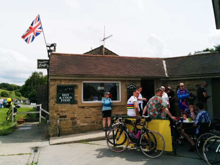 Riders stopping at the Hambleton Cafe for espresso. Photo © Zarina Holmes / GLUE