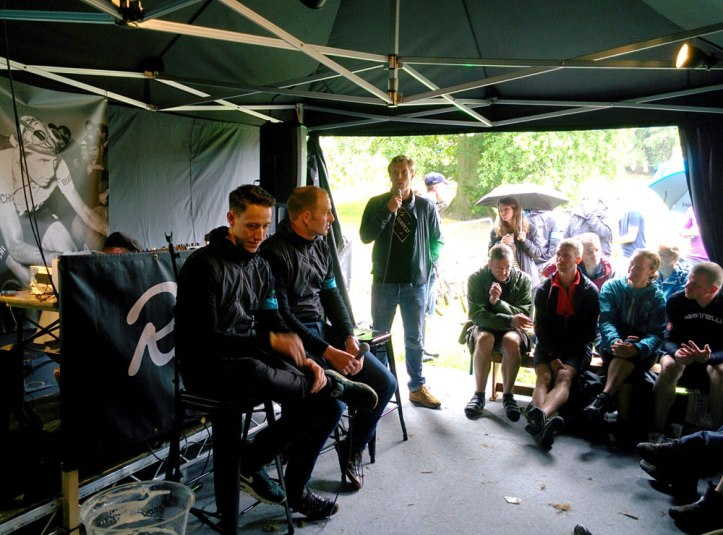Meeting Team Sky's Josh Edmondson and Ian Stannard at Rapha tent. They are great personalities, both were really funny at the Q&A session. Photo © Zarina Holmes / GLUE