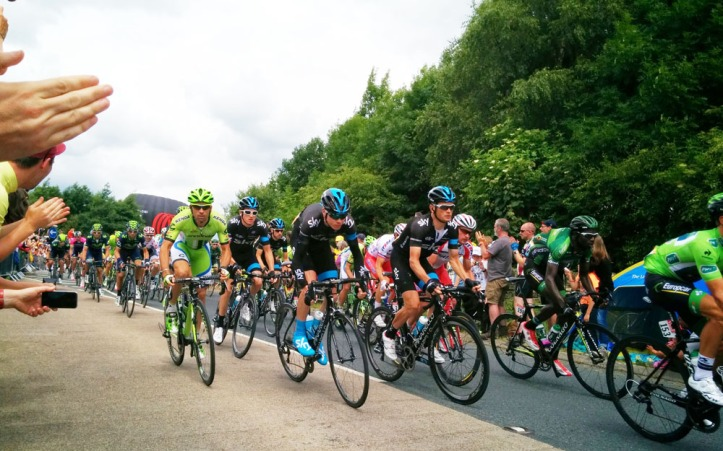 Stage 2 at Bolton Abbey. Peter Sagan, Chris Froome, Vasili Kiryienka and Jens Voight (if you can see his polka dot jersey at the back). Photo © Zarina Holmes / GLUE