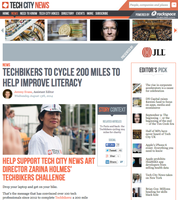 A write-up by Tech City News on Zarina Holmes's effort for Tech Bikers. You can donate to Room To Read at this link.